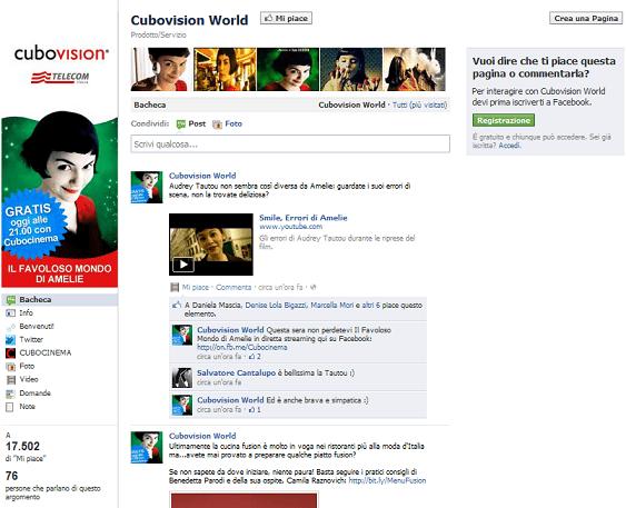 La pagina facebook di Cubovision