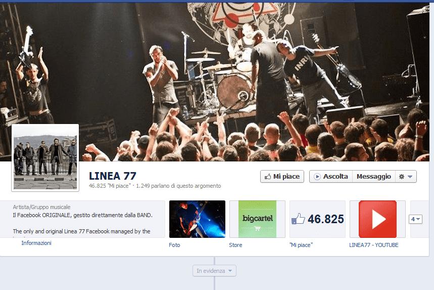 il pulsante ascolta sulla fan page dei Linea 77